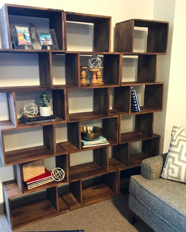 Geometric Wooden Bookshelves
